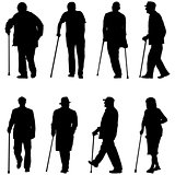 Set silhouette of disabled people on a white background