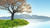 3D cherry blossom tree on grassy bank against mountain landscape