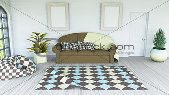 3D modern lounge interior with blank picture frame on the wall