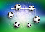 Footballs on glitter background with white frame