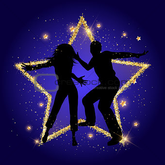 Party couple on a glittery gold star background