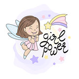 FAIRY FLY STAR GIRL AND LETTERING