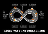 Road way design infographics.