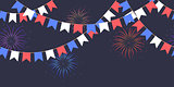 Seamless garland with celebration flags chain, white, blue, red pennons and salute on dark background, footer and banner fireworks