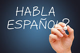 Habla Espanol Handwritten With White Marker
