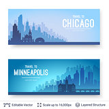 Chicago and Minneapolis famous city scapes.