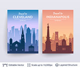 Cleveland and Indianapolis famous city scapes.