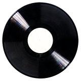 Black dusty vinyl record isolated on white background