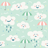 Cute baby cloud pattern vector seamless