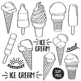 Doodle ice cream collection  isolated in black and white for col