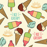 Doodle seamless pattern with ice cream
