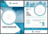 Blue Leaflet Template with Geometric Elements