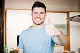 man showing thumb up