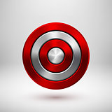 Red Technology Circle Metal Badge