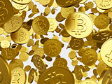 falling golden bitcoin