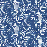 Floral motif background texture. Blue seamless pattern.