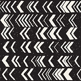 Seamless hand drawn style chevron pattern in black and white. Abstract vector background