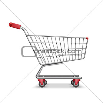 Empty metallic supermarket shopping cart side view isolated on white. Realistic supermarket basket, retail pushcart vector illustration
