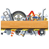 Vector Car Parts with Wooden Board