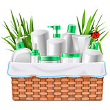 Vector Natural Cosmetics with Basket