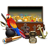 Vector Old Pirate Chest with Treasures