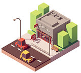 Vector isometric clothing store
