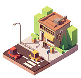 Vector isometric cheese shop
