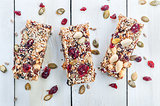 Granola bar on wooden table