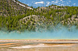 Grand Prismatic Spring as seen walking along path in Midway Geyser Basin, Yellowstone National Park, Wyoming