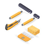 Roller, cutter. Isometric construction tools isolated on white.