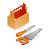 Handsaw, chisel, box. Isometric construction tools.