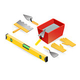 Level, gloves, spatula, mortar. Isometric construction tools.