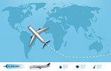 Business trip banner with Airplane and world map background. Realistic Aircraft travel concept. Flight travel world map vector illustration