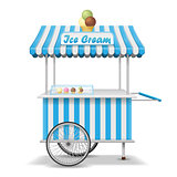 Realistic street food cart with wheels. Mobile pink ice cream market stall template. Ice cream kiosk store mockup. Vector illustration
