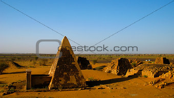 Panorama of Meroe pyramids in the desert at sunset, Sudan,