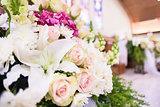 Wedding Flower bouquet in church