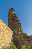 The ruins of the tower in the medieval  fortress.