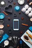 Baking background eggs kitchen tools mobile phone mockup
