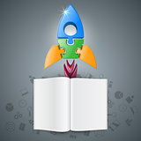3d realistic rocket and book icon.