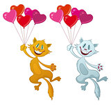 Cats with Valentine Balloons