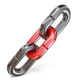 Red chain link connect two metal chain links 3D