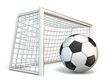 Soccer ball and soccer gate side view 3D