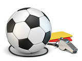 Football concept red and yellow cards, whistle and soccer ball 3