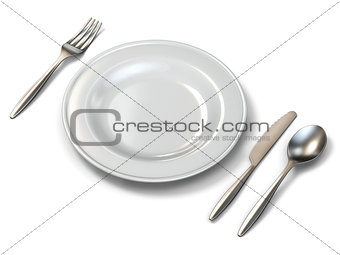 Plate, fork, knife and spoon side view 3D