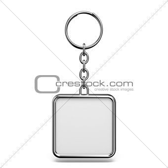 Blank metal trinket with a ring for a key square shape 3D