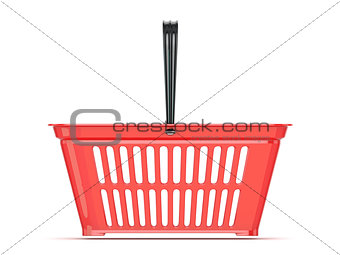 Red shopping basket. 3D