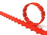 Red puzzle ring rotating over puzzle chain