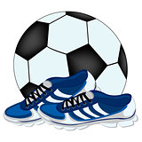 Soccer ball and atheletic footwear