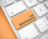 Full Maintenance - Message on the Orange Keyboard Key. 3D.