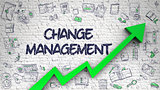Change Management Drawn on White Brickwall.